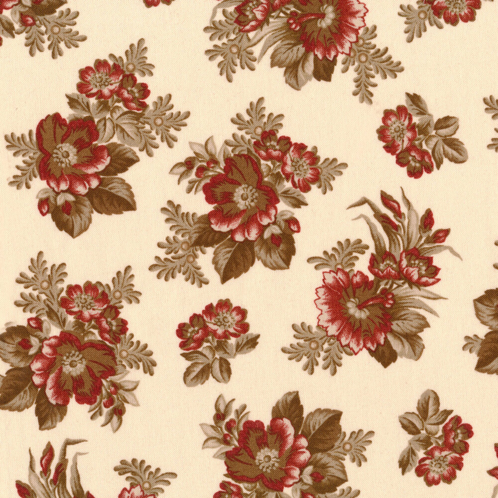 Tossed flower bunches on a light pink background   Shabby Fabrics