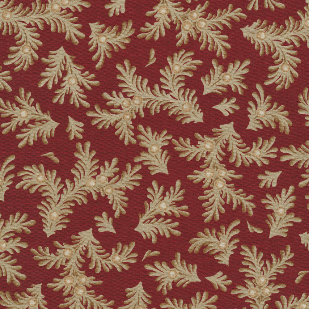Tossed sprigs on a red background | Shabby Fabrics