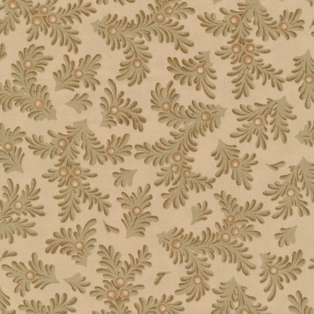 Tossed sprigs on a beige background | Shabby Fabrics