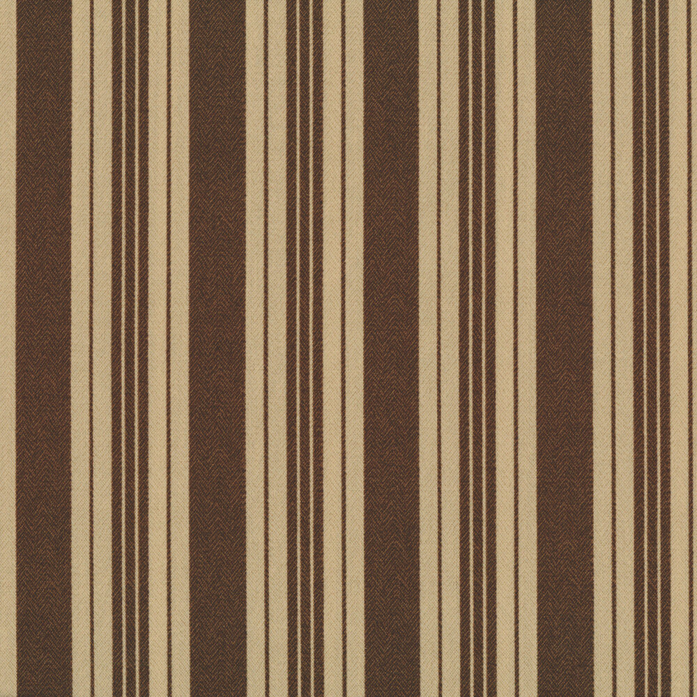 Dark brown and cream striped fabric   Shabby Fabrics