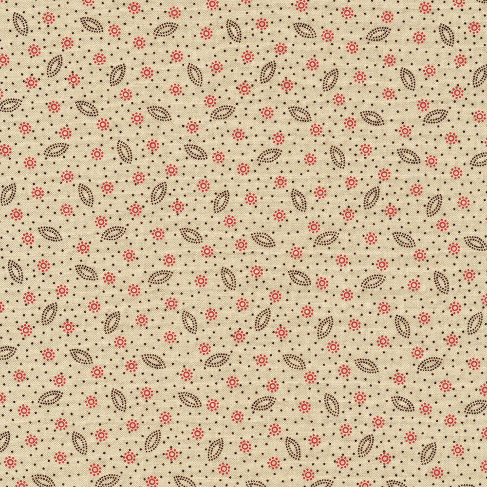 Dot clusters and scattered dots on a beige background | Shabby Fabrics