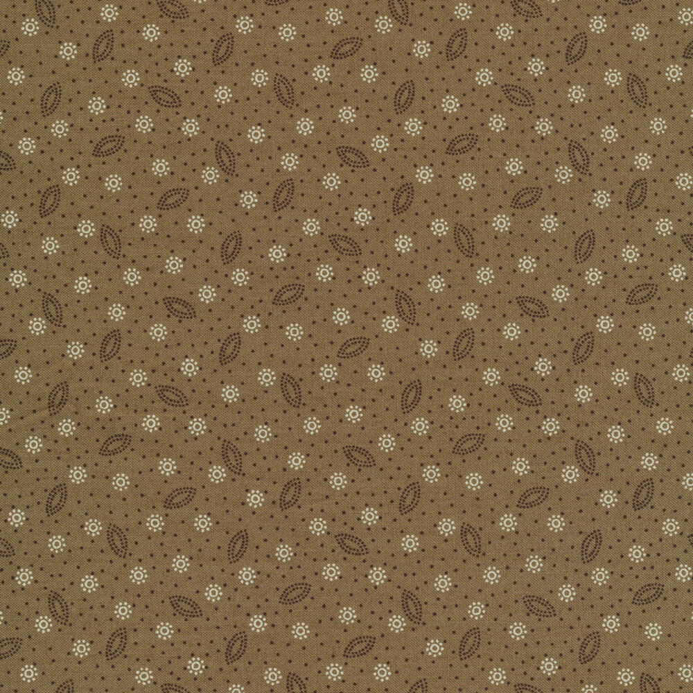 Dot clusters and scattered dots on a dark beige background   Shabby Fabrics