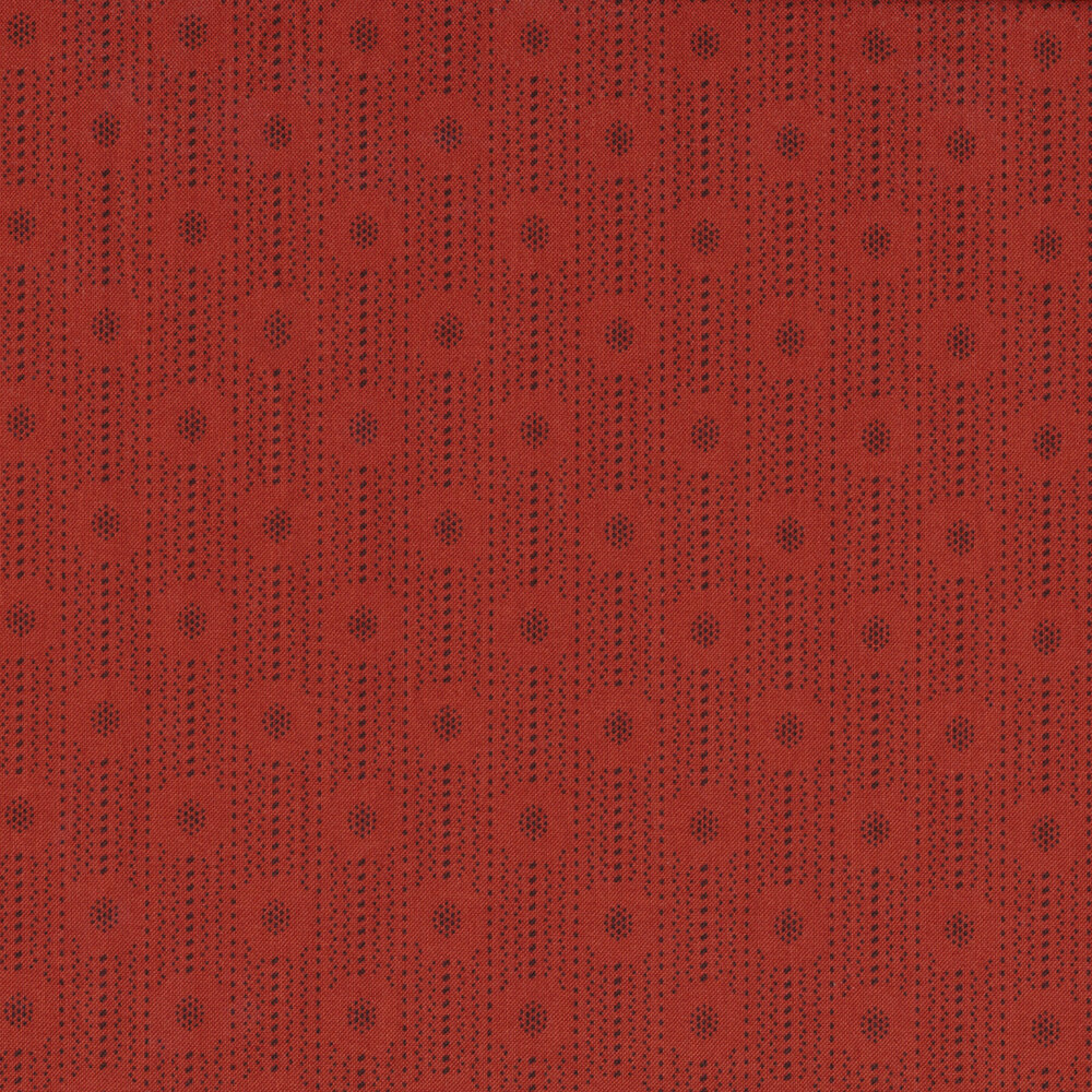Tonal dotted stripes and dot clusters on a red background | Shabby Fabrics