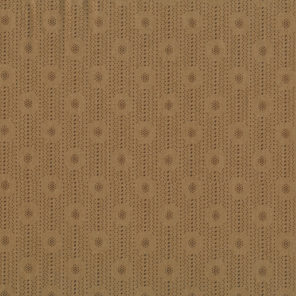Tonal dotted stripes and dot clusters on a beige background | Shabby Fabrics