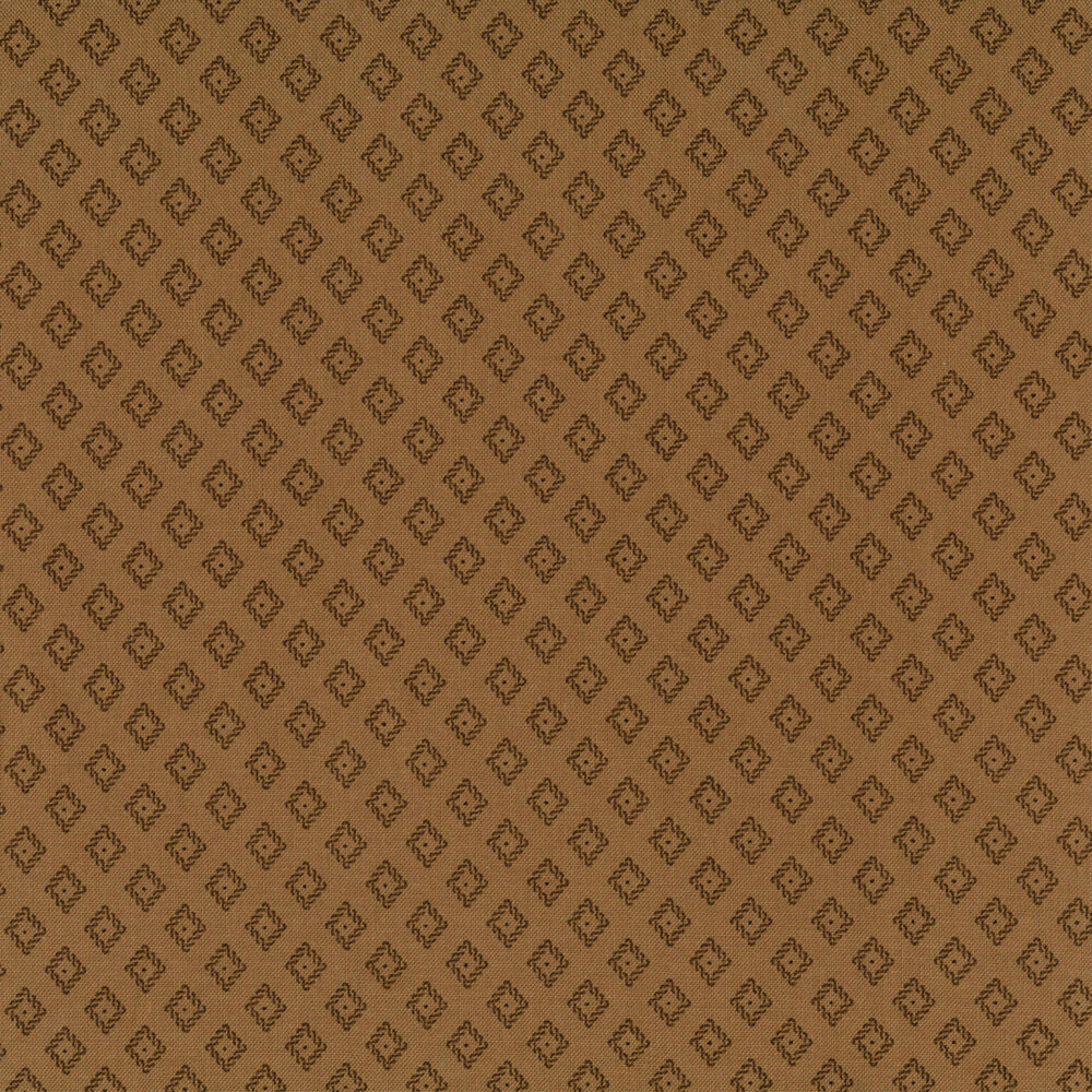 Tonal diamonds with dots on a brown background | Shabby Fabrics