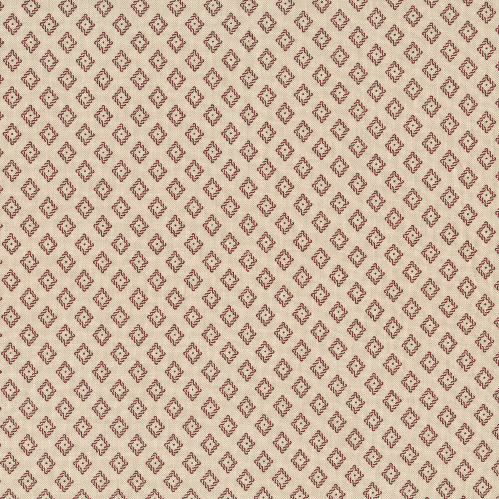 Red diamonds with dots on a light tan background | Shabby Fabrics