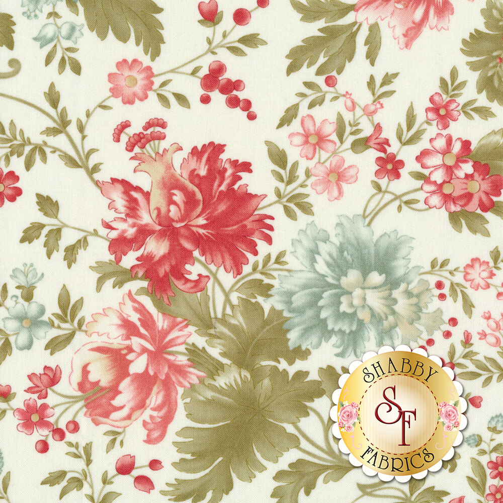 Red and blue flowers with green leaves all over ivory | Shabby Fabrics