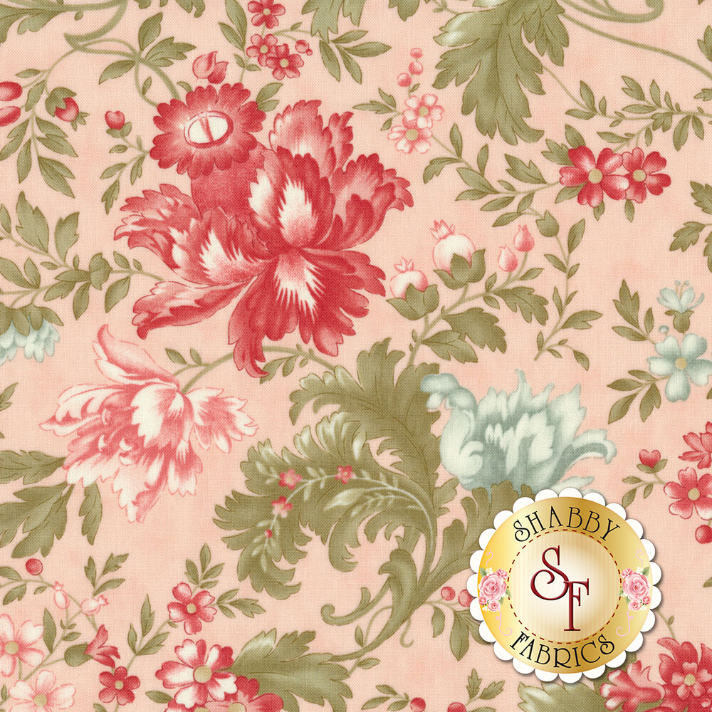 Red and blue flowers with green leaves all over pink | Shabby Fabrics