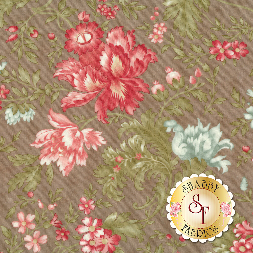 Red and blue flowers with green leaves all over gray | Shabby Fabrics