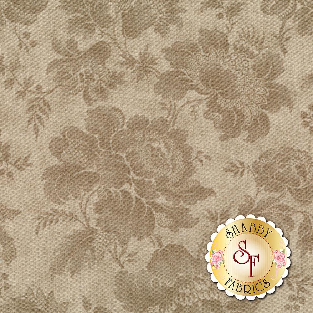 Tonal flower design on gray | Shabby Fabrics
