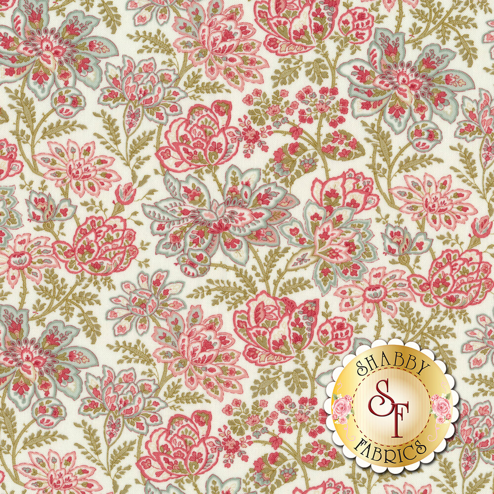Pink, blue, and red flower design all over white | Shabby Fabrics