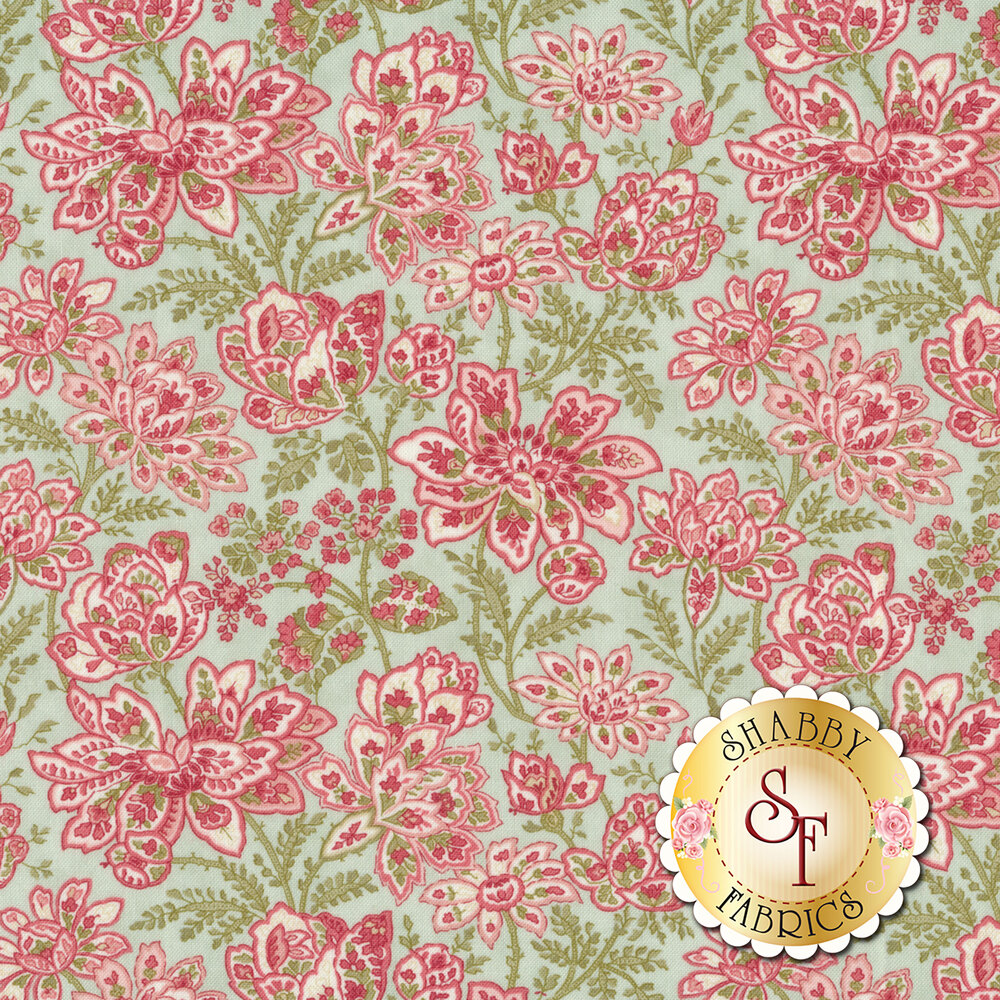 Pink, blue, and red flower design all over blue | Shabby Fabrics