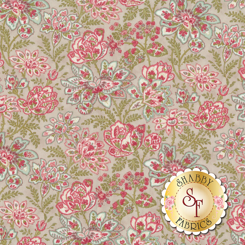 Pink, blue, and red flower design all over gray | Shabby Fabrics