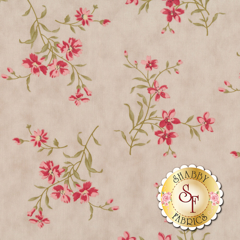 Tossed pink flowers with green stems on gray | Shabby Fabrics