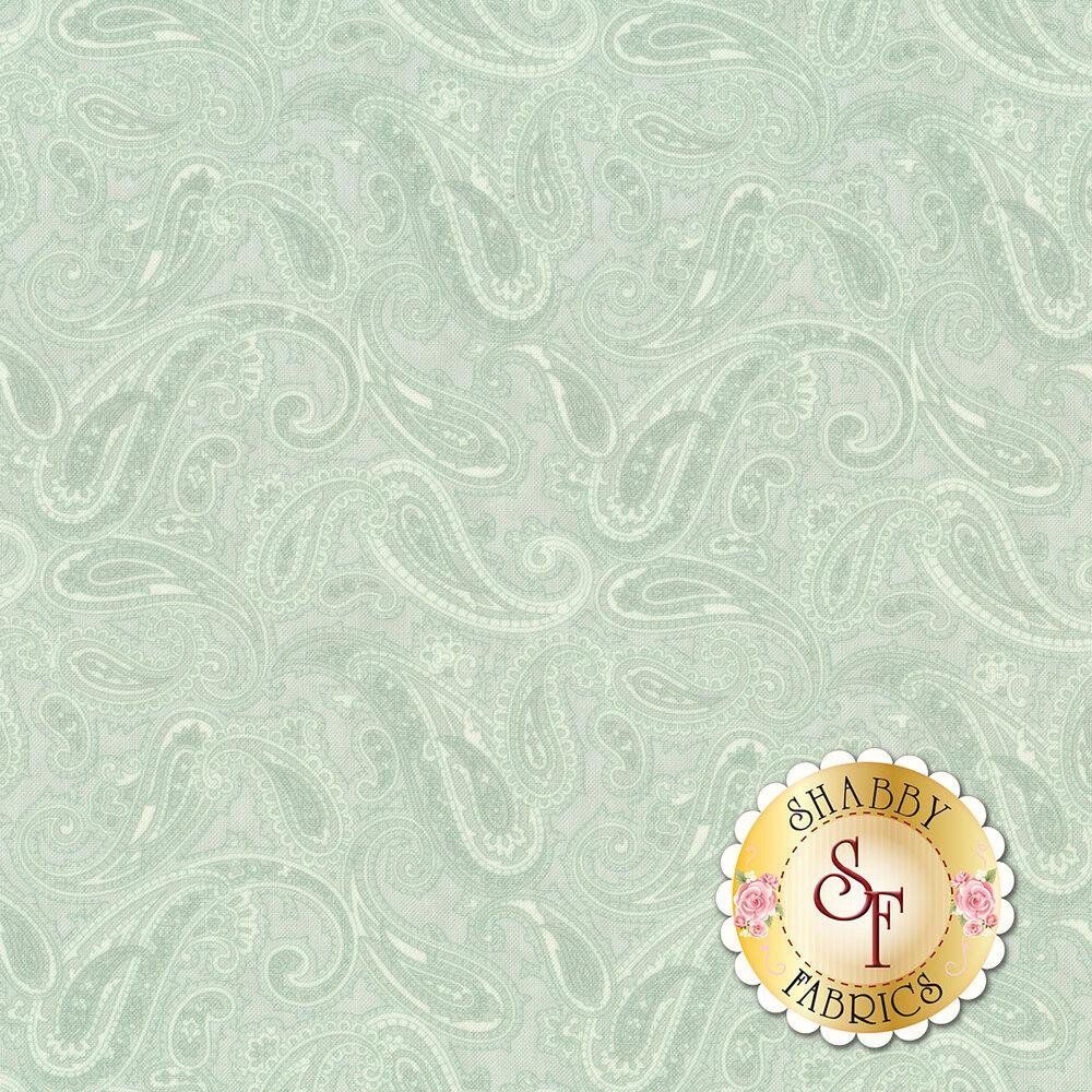 Tonal aqua paisley design | Shabby Fabrics