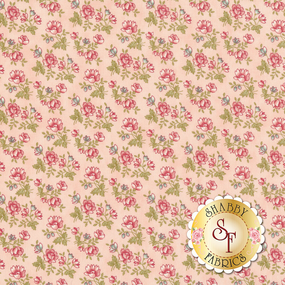 Small pink flowers with green stems and leaves all over pink | Shabby Fabrics