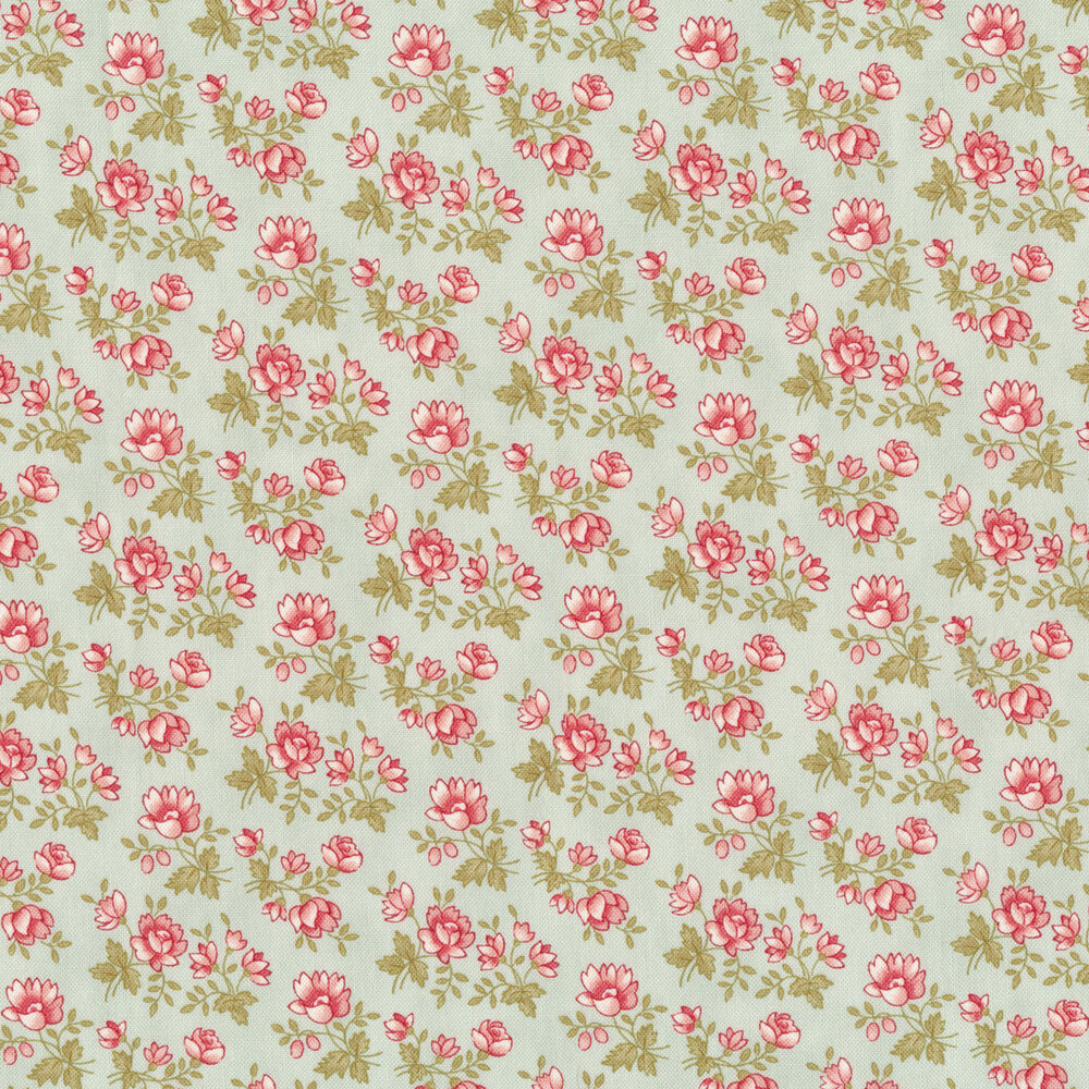 Small pink flowers with green stems and leaves all over aqua | Shabby Fabrics