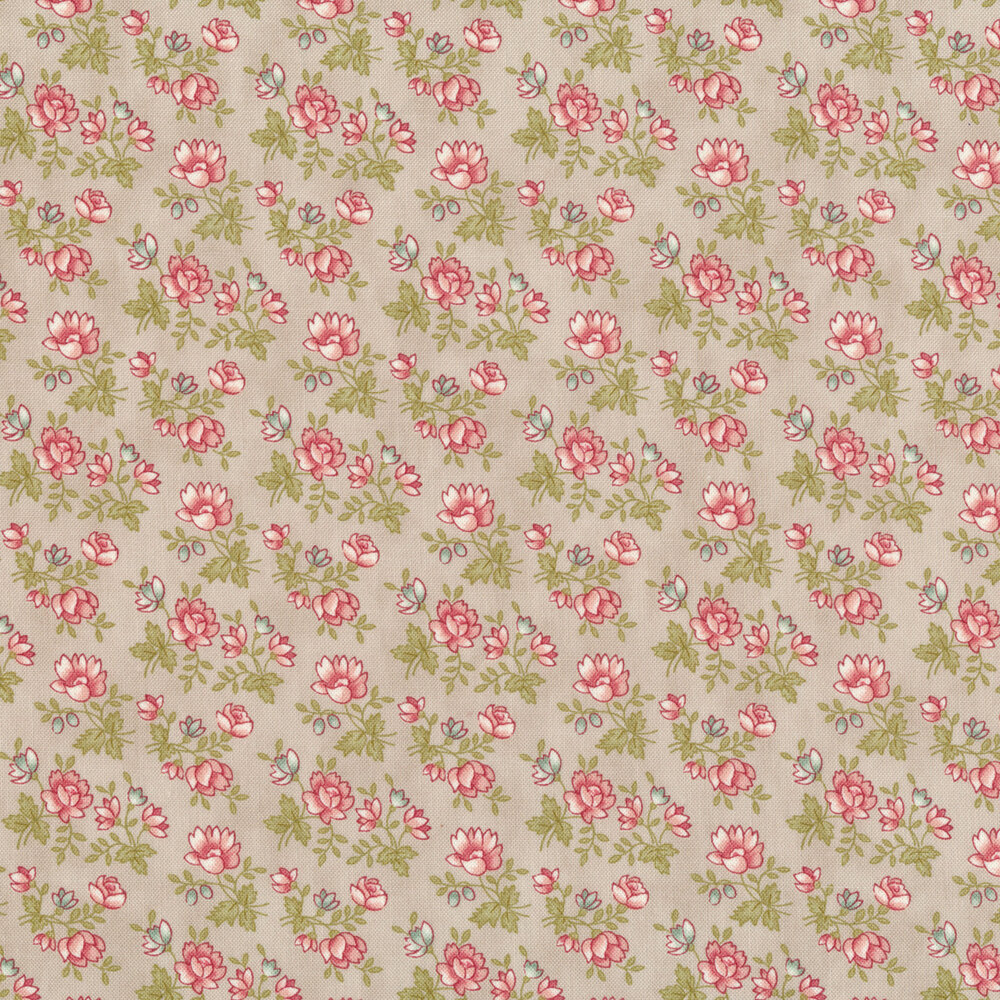 Small pink flowers with green stems and leaves all over gray | Shabby Fabrics