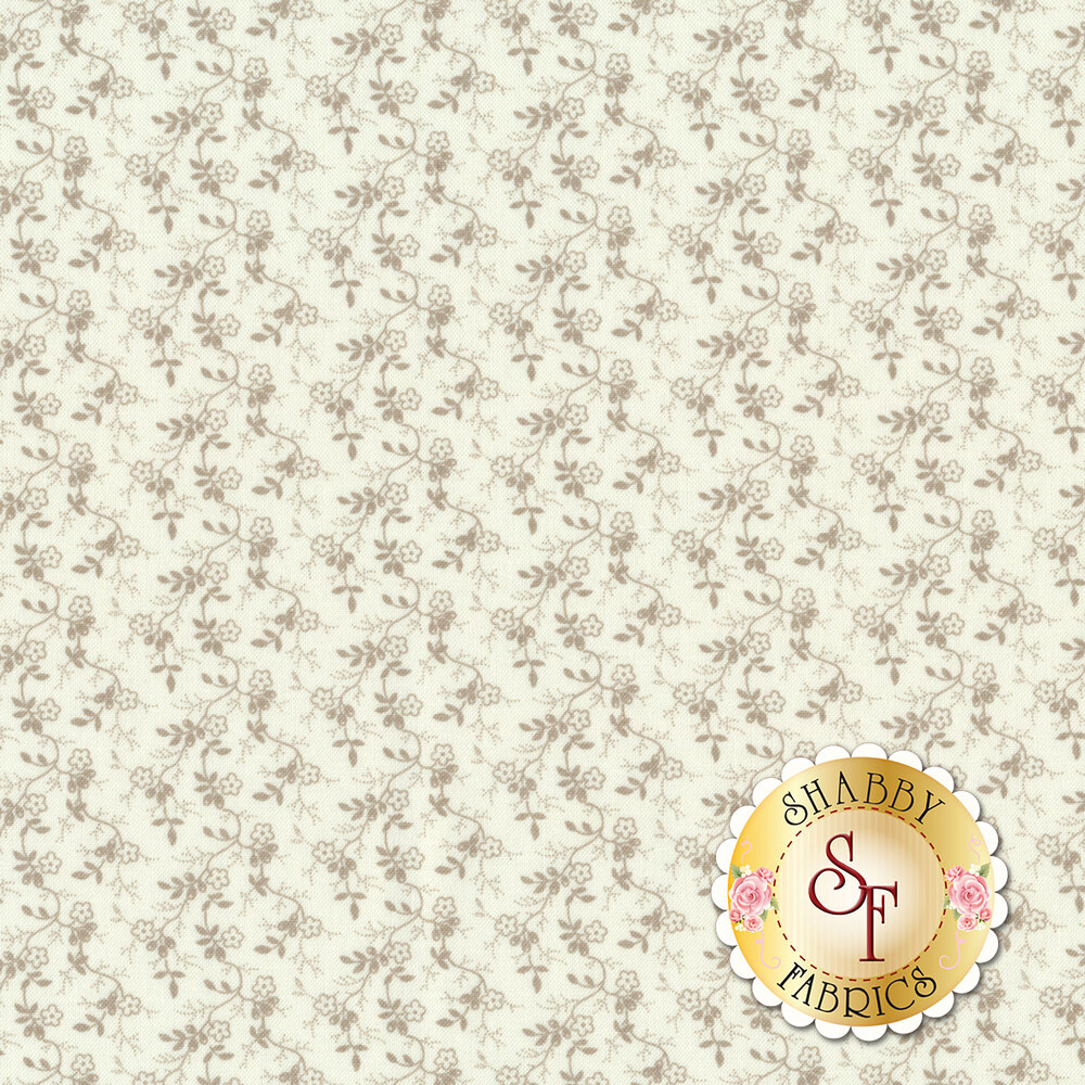 Gray flowers on vines all over white | Shabby Fabrics