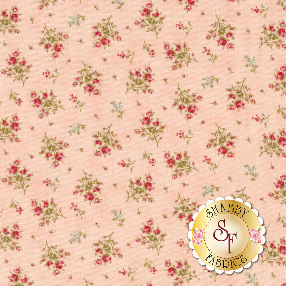 Flower bouquets tossed on pink | Shabby Fabrics