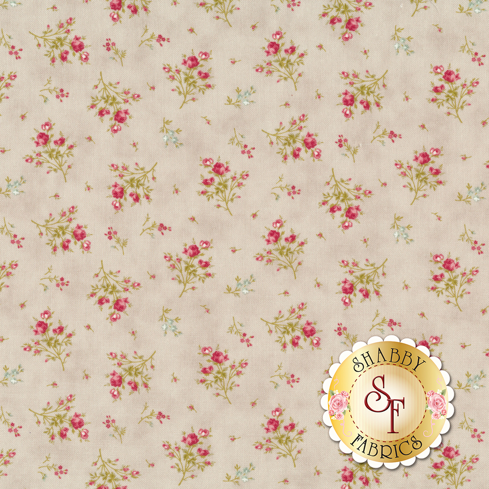 Flower bouquets tossed on gray | Shabby Fabrics