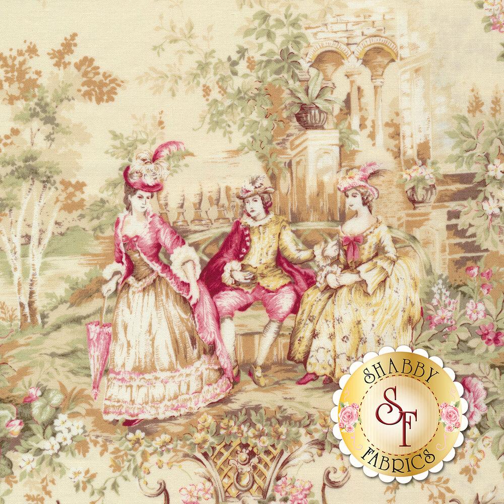 Elegant fabric with portraits of classic times | Shabby Fabrics