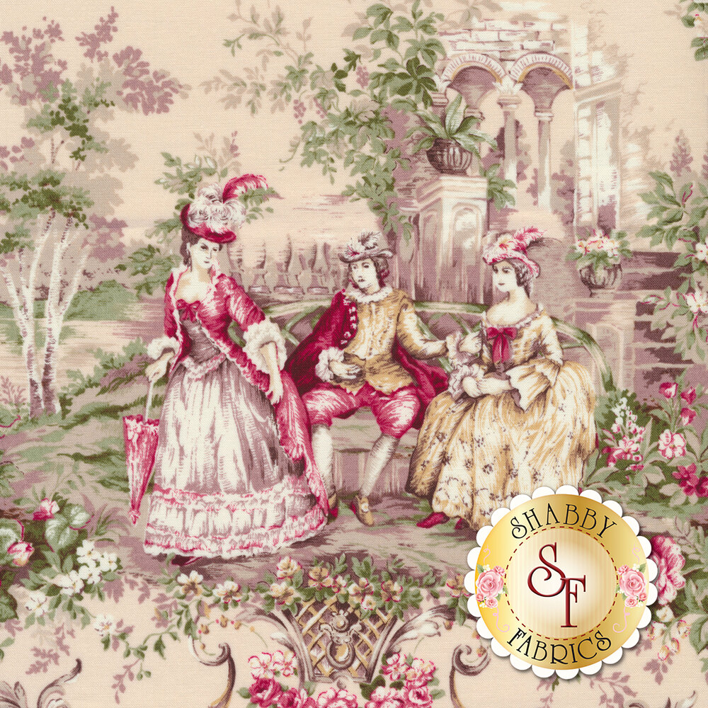 Elegant fabric with portraits of classic times | Shabby Fabrics