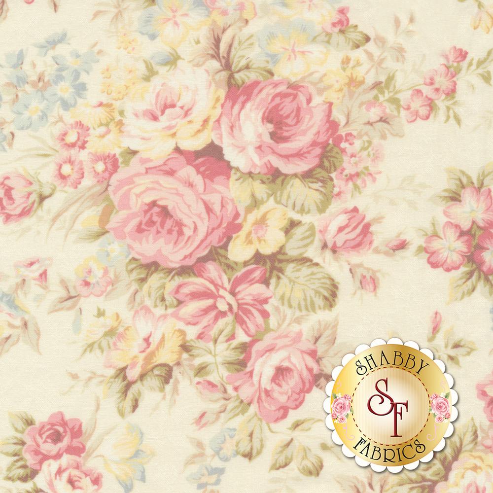 Elegant roses and flowers on a cream background | Shabby Fabrics