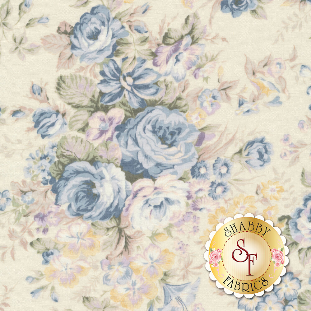 Blue roses and flowers on a cream background   Shabby Fabrics