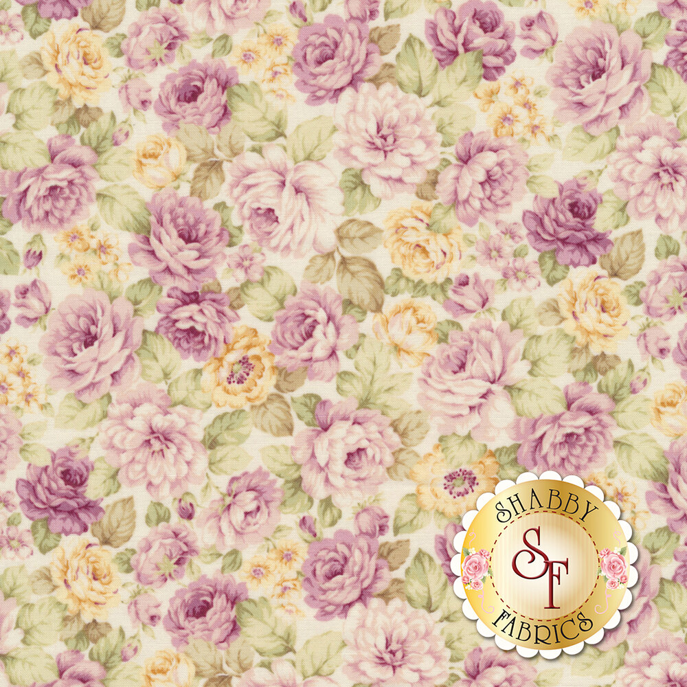 Large purple roses and smaller flowers tossed on a white background | Shabby Fabrics