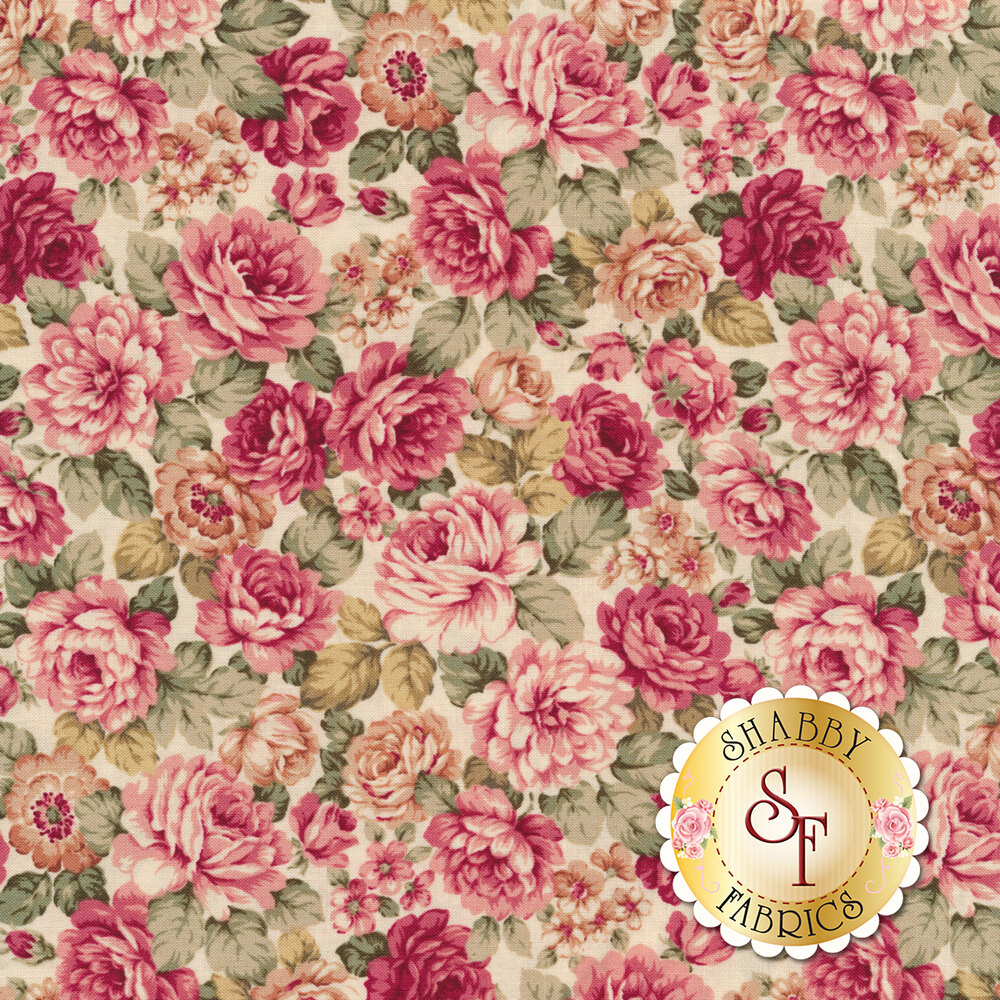 Large pink roses and smaller flowers tossed on a white background | Shabby Fabrics