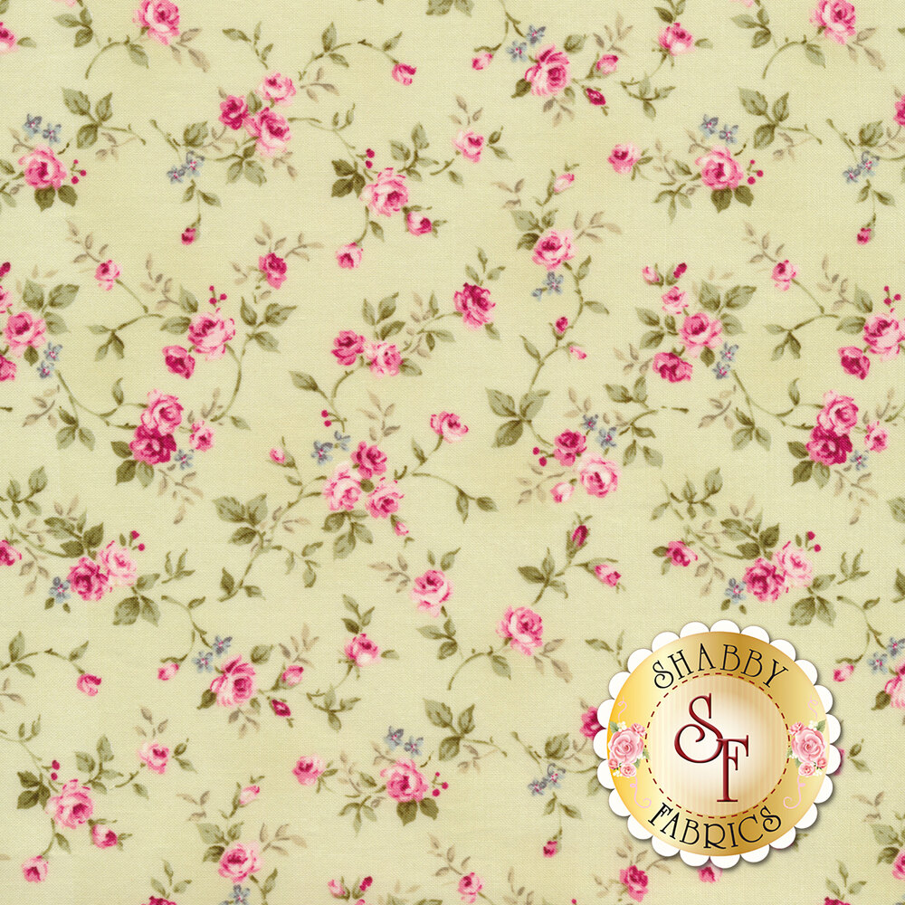 Pink roses and vines tossed on a green background | Shabby Fabrics