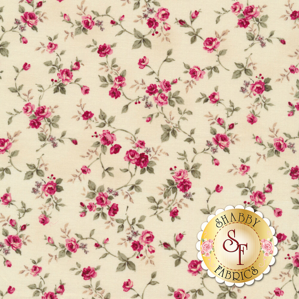 Pink roses and vines tossed on a tan background | Shabby Fabrics