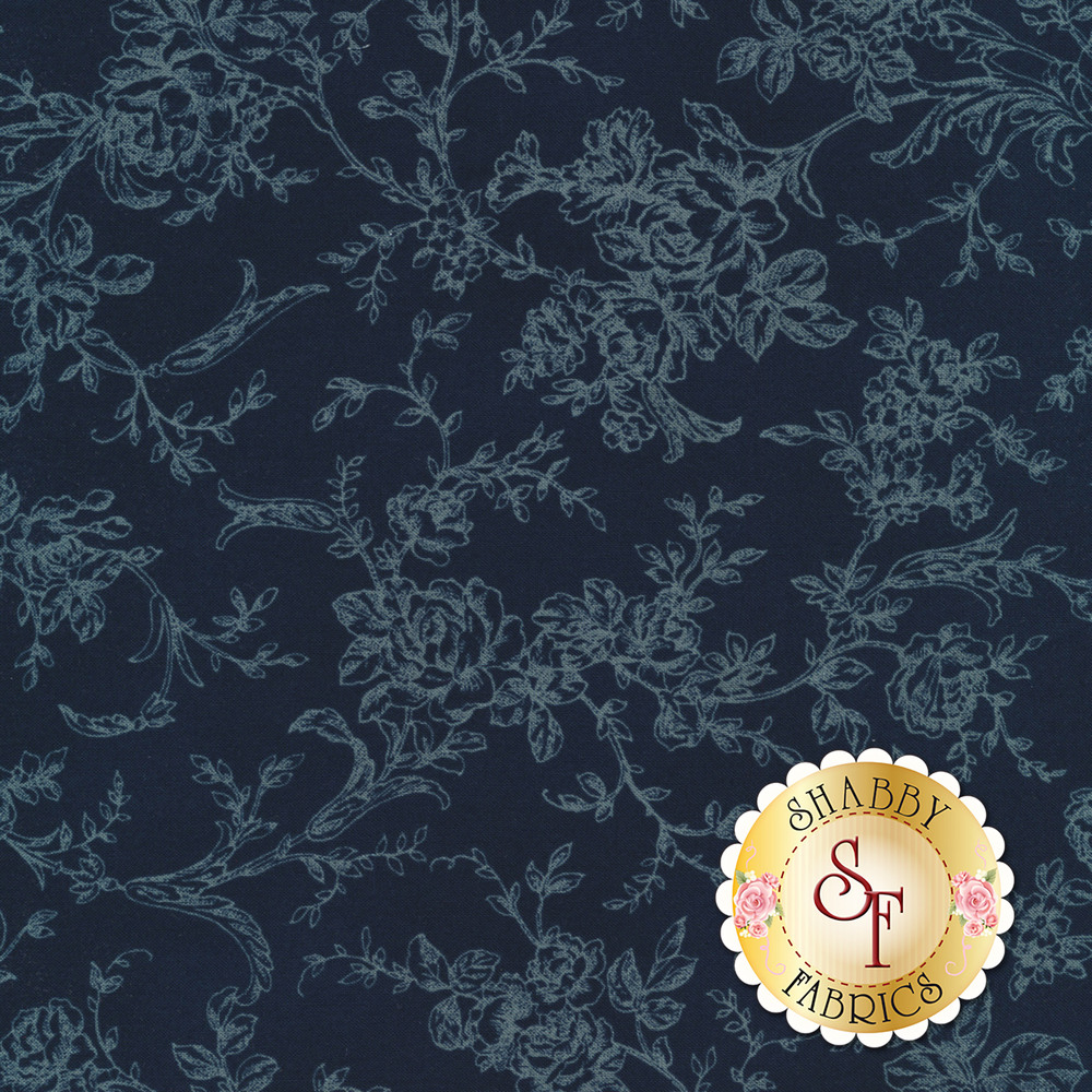 Toile roses and vines on a dark blue background | Shabby Fabrics
