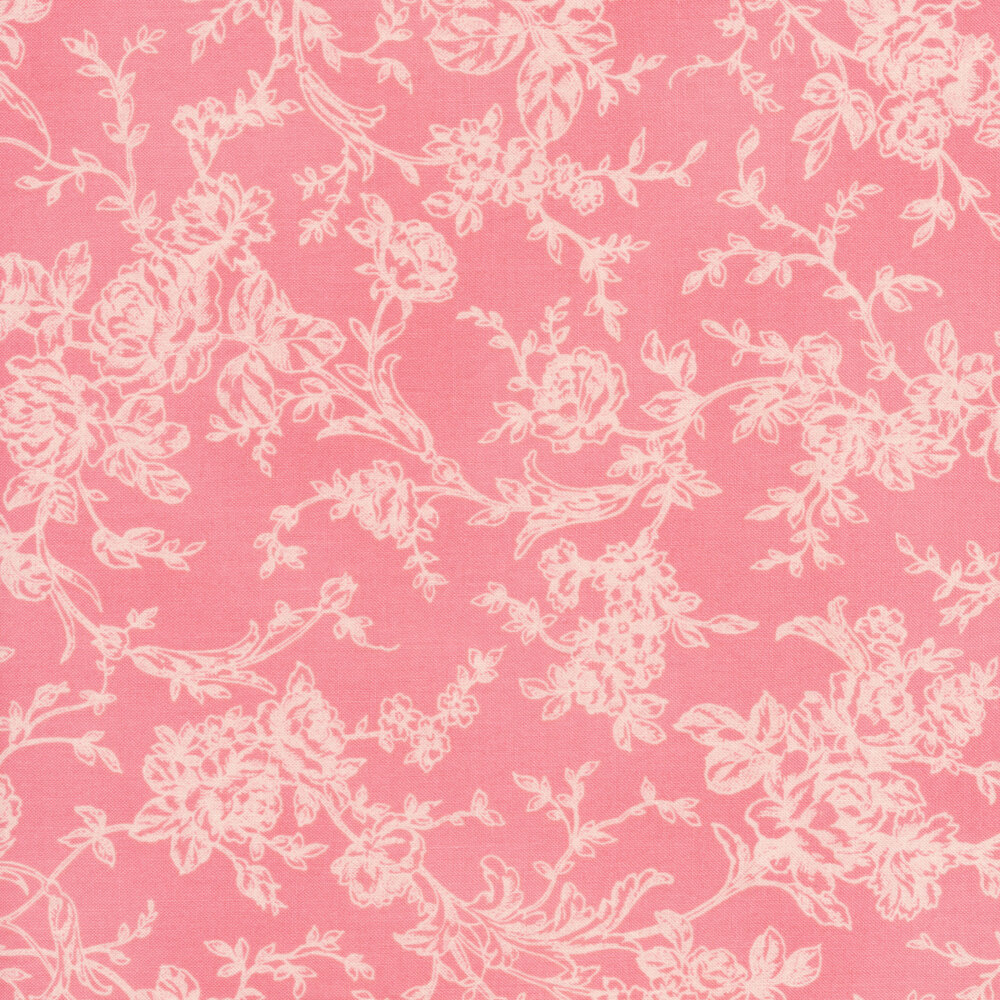 Toile roses and vines on a pink background | Shabby Fabrics
