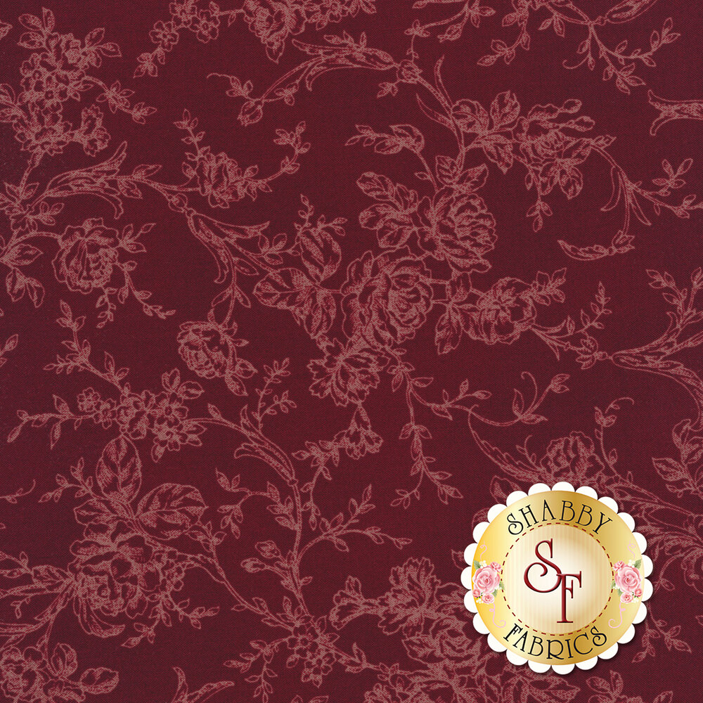 Toile roses and vines on a dark purple background | Shabby Fabrics