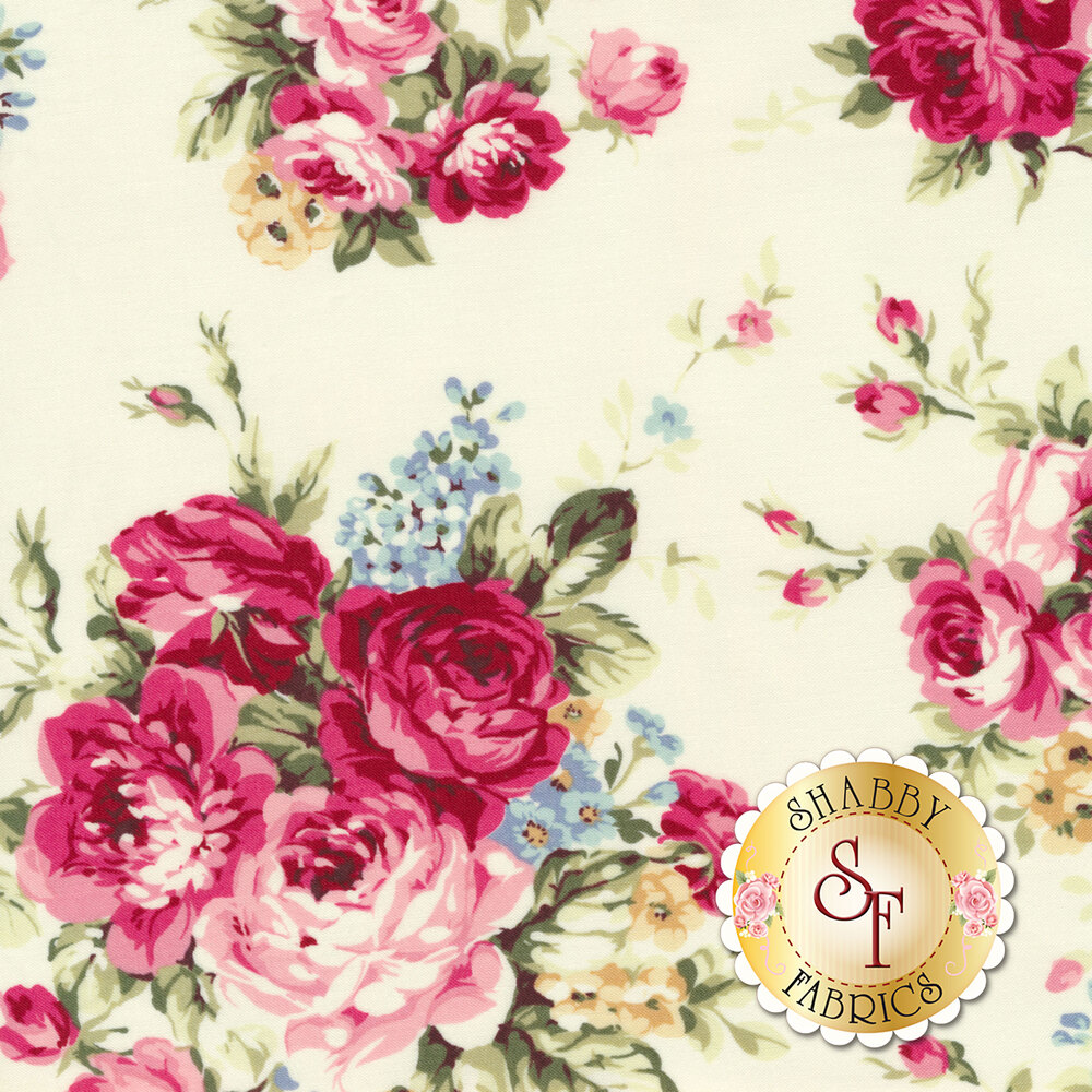 Bouquets of pink roses with yellow and blue flowers on cream | Shabby Fabrics