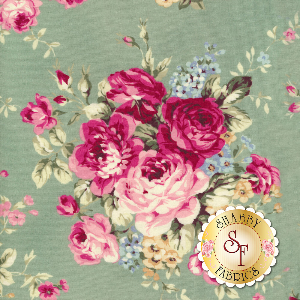 Bouquets of pink roses with yellow and blue flowers on green | Shabby Fabrics