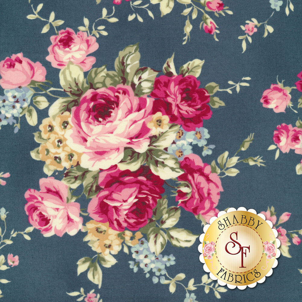 Bouquets of pink roses with yellow and blue all over blue | Shabby Fabrics