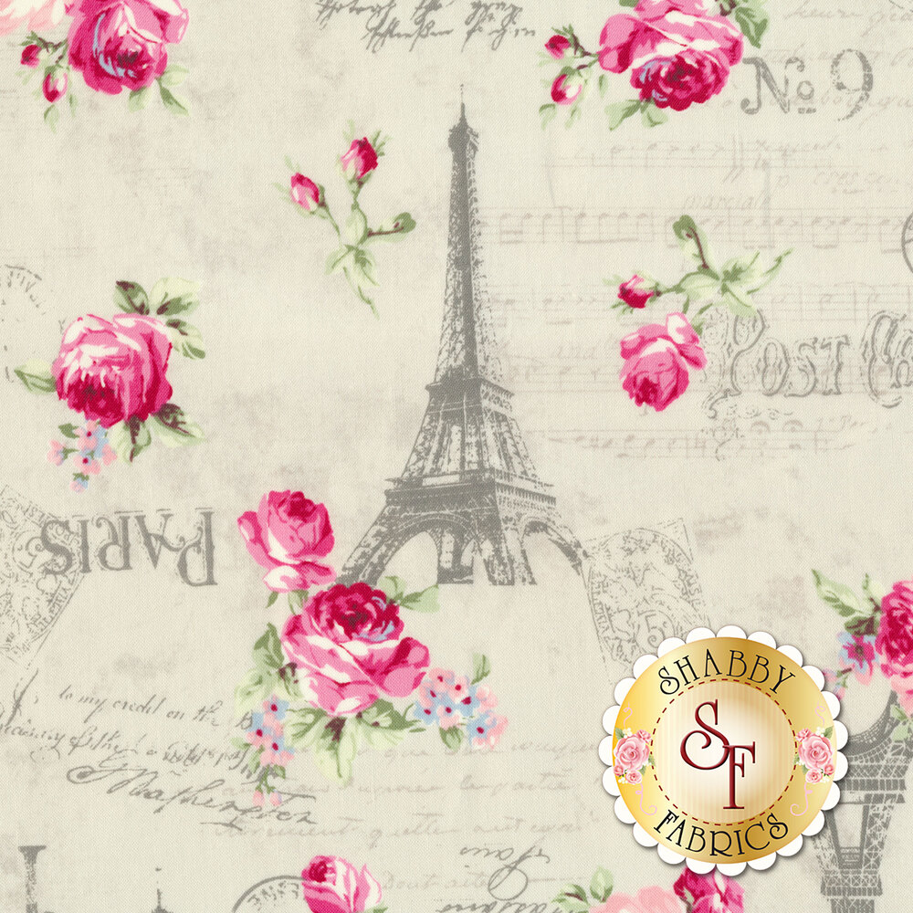 Pink roses, gray Eiffel Towers and script all over light gray | Shabby Fabrics