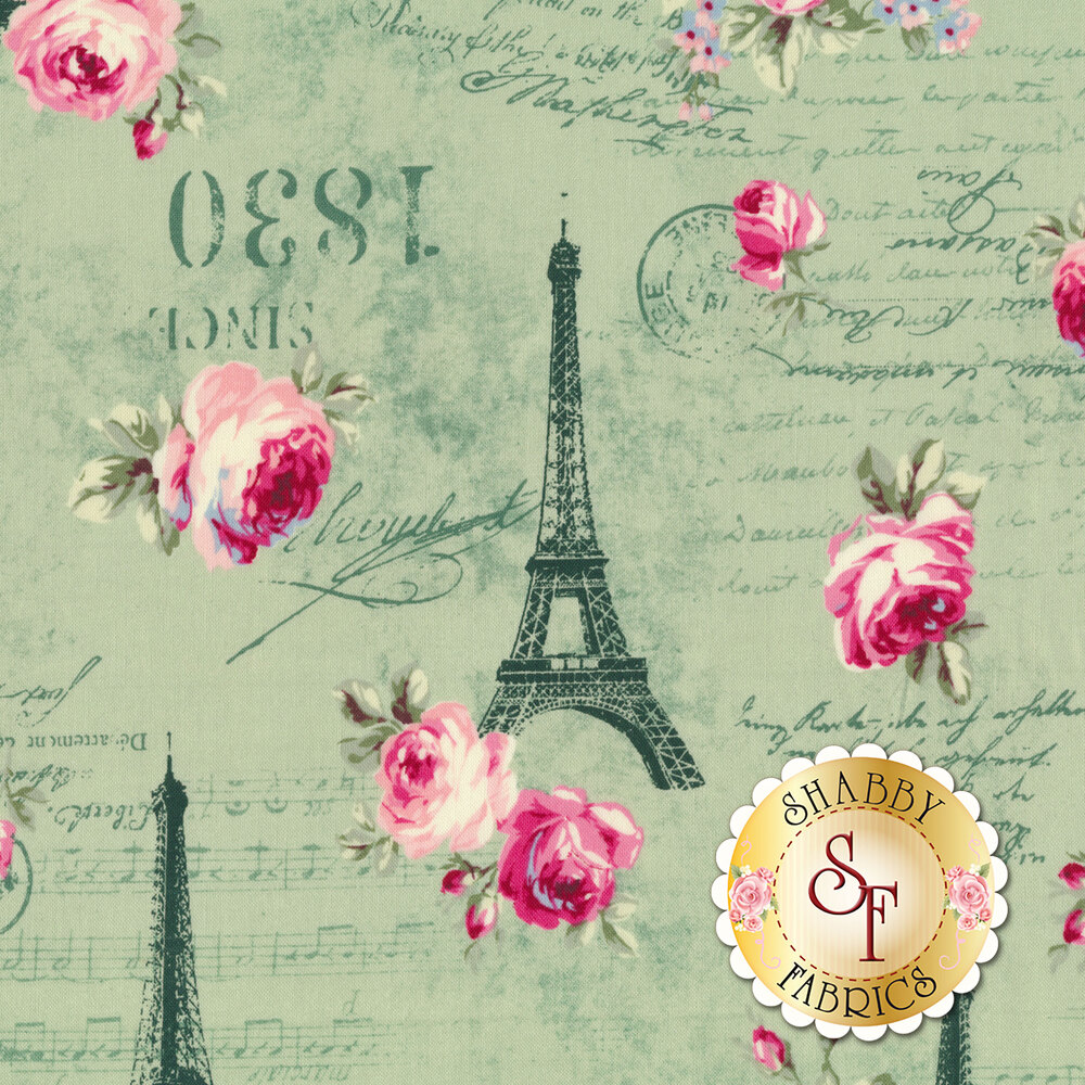 Pink roses, tonal Eiffel Towers and script all over green | Shabby Fabrics