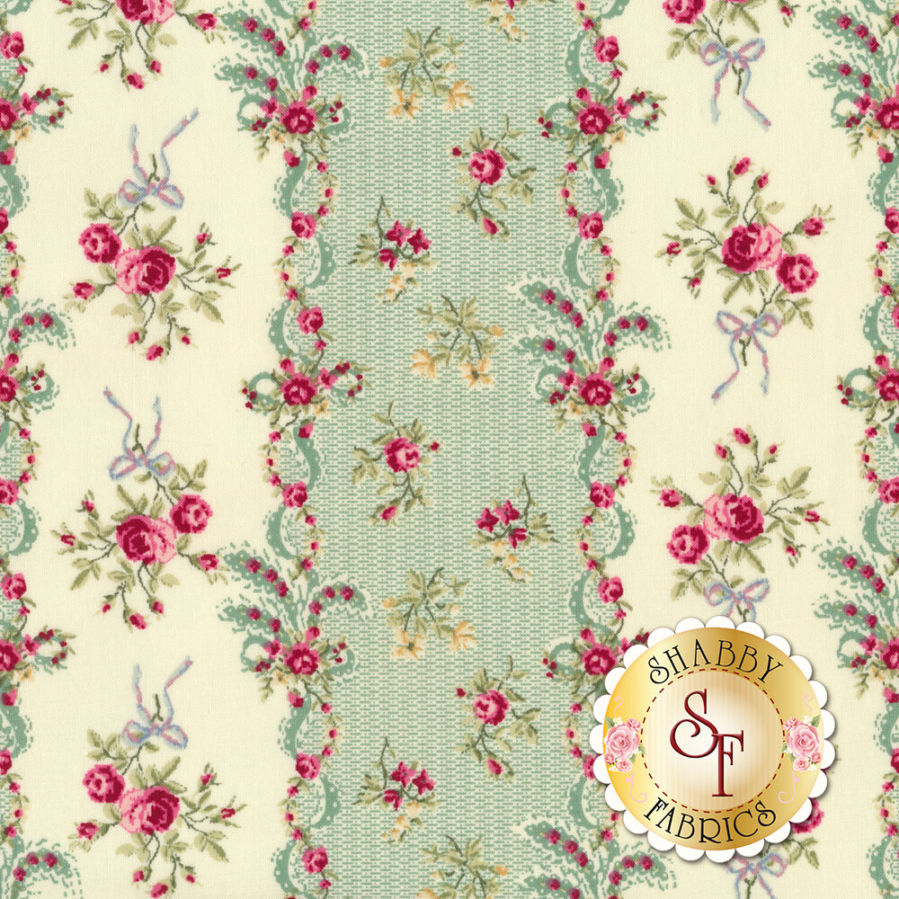 Rose stripe with tossed roses on cream/green | Shabby Fabrics