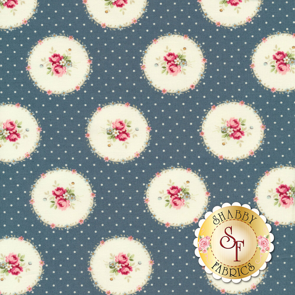 Flower bouquets in floral circles all over blue with dots | Shabby Fabrics