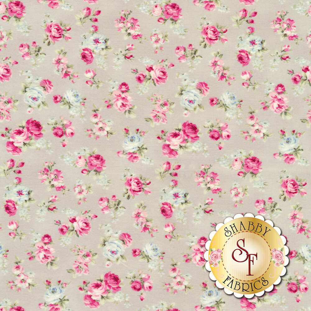Blue and pink flowers all over gray | Shabby Fabrics