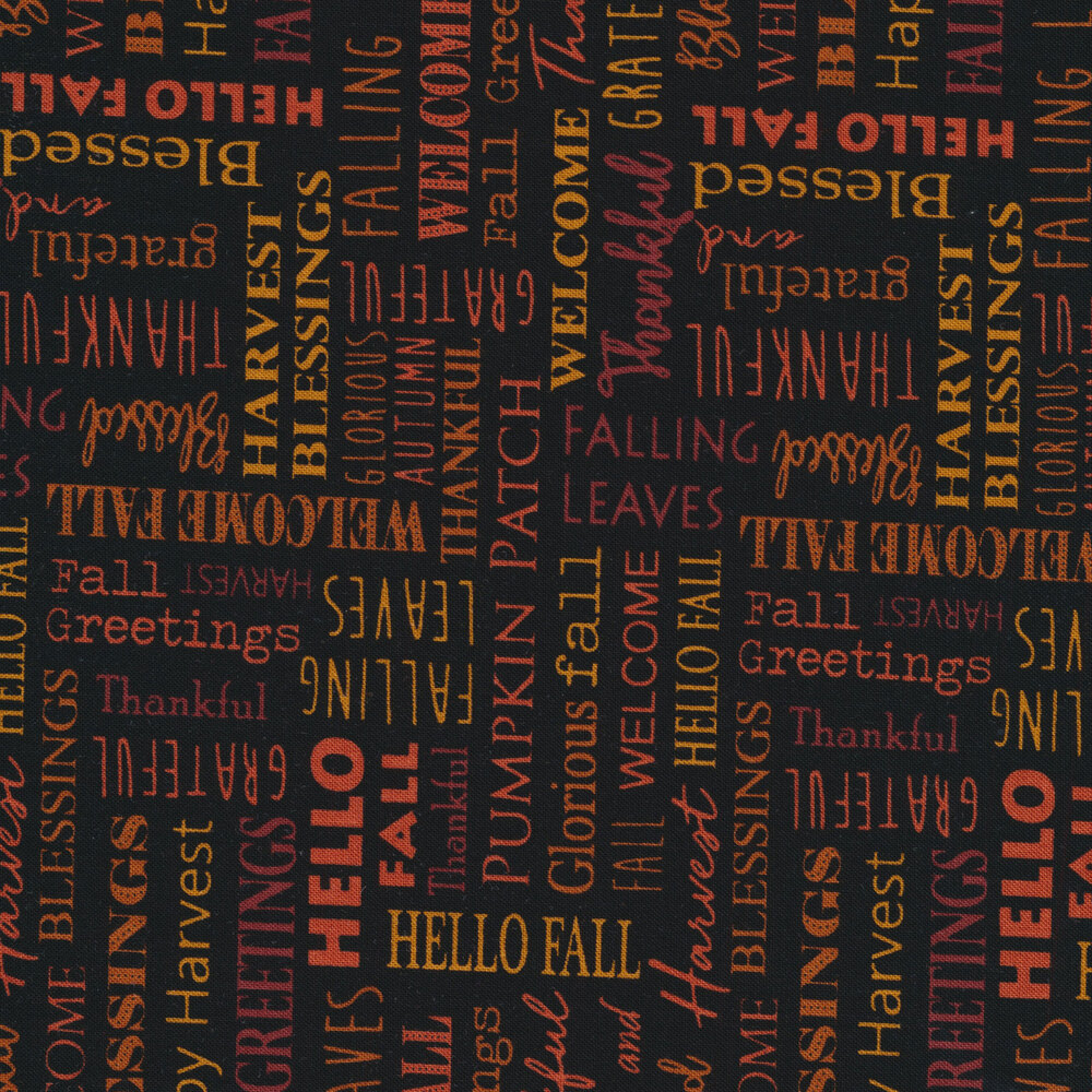 Orange and Rust toned words on black | Shabby Fabrics