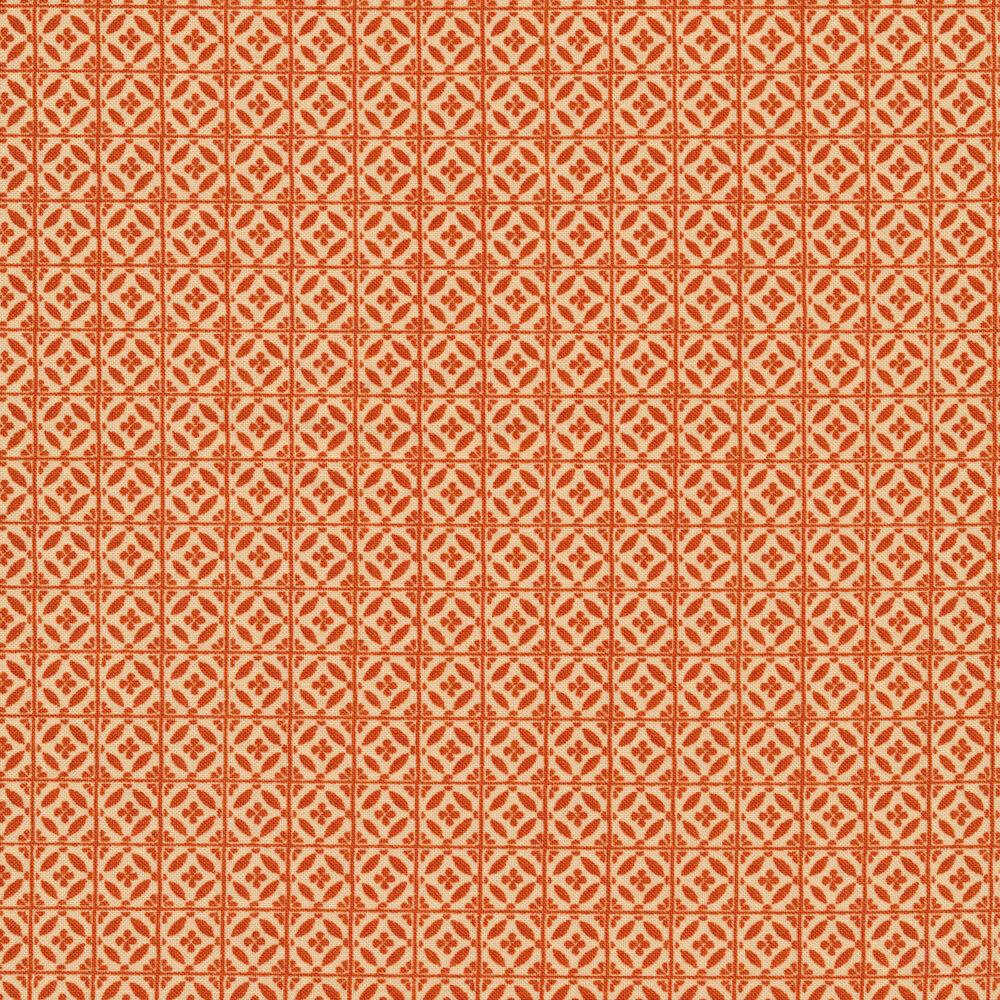 Orange tile print on cream | Shabby Fabrics