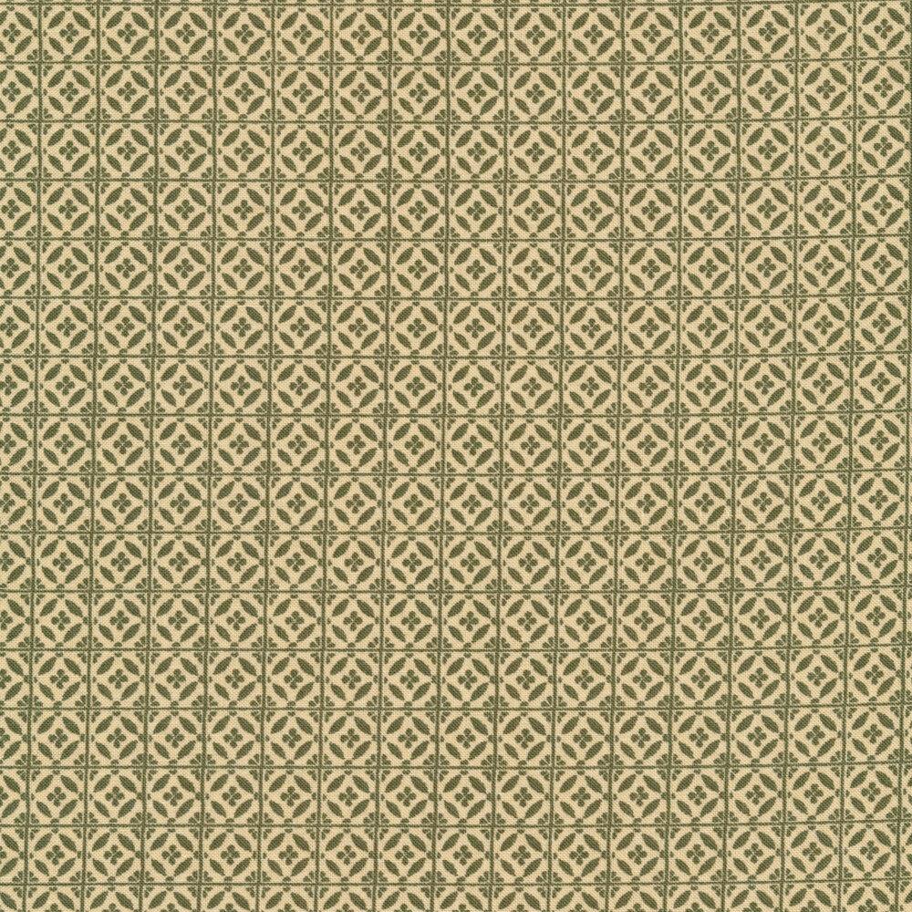 Orange tile print on green | Shabby Fabrics