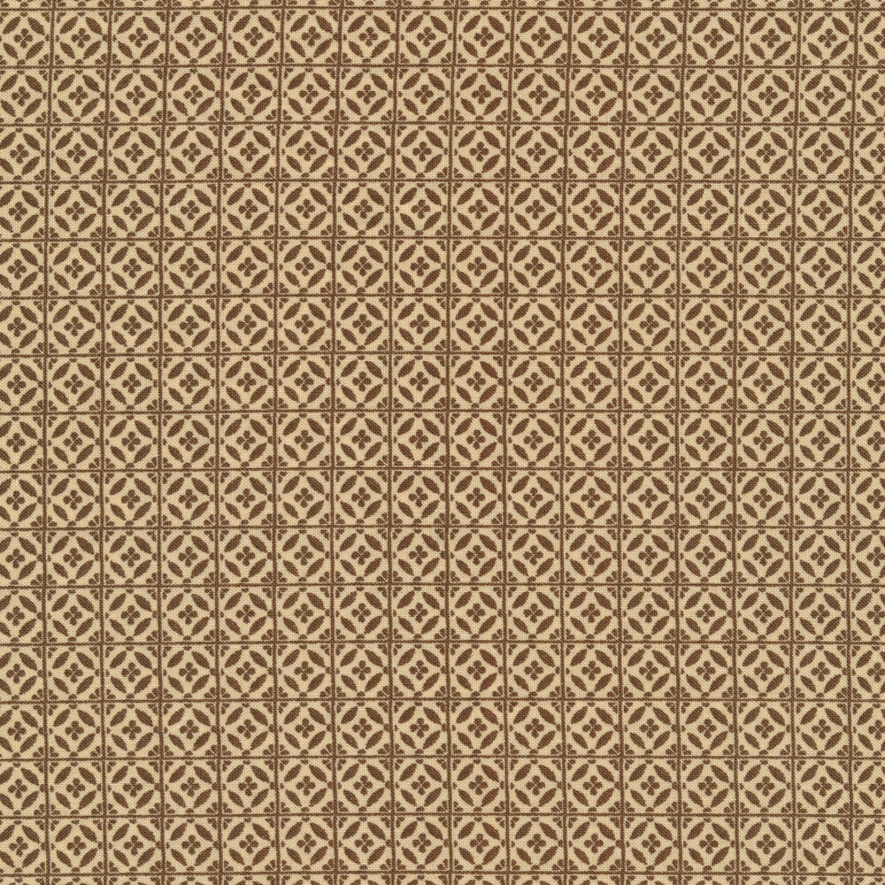 Brownish grey tile print on cream | Shabby Fabrics