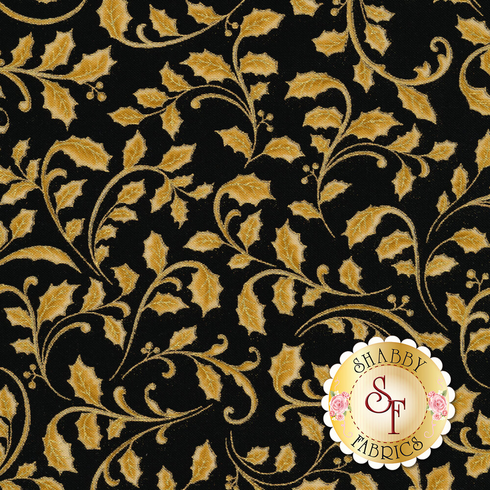 Gold leaves with metallic accents on black   Shabby Fabrics