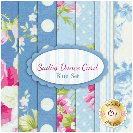 Sadie's Dance Card   7 FQ Set - Blue Set by Tanya Whelan for Free Spirit Fabrics